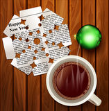 Vector Christmas background with snowflake cut from newspapers , Stock Photography