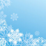 Vector christmas background with snowflakes on blue Stock Images