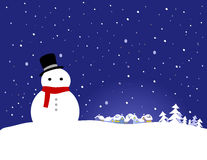 Vector Christmas Background - Snowman Royalty Free Stock Photo