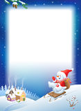 Vector Christmas background. Snowman on sled with gifts. Royalty Free Stock Images