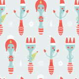 Vector christmas background with spoon, plug,. Knife and decorative elements, seamless new year pattern Stock Photo