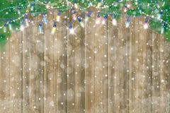 Vector Christmas background. Vector  wooden  background, snow  and fir branches  border for Christmas design Stock Images