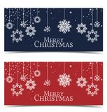 Vector Christmas backgrounds. Merry Christmas banners with snow Stock Images