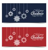 Vector Christmas backgrounds. Merry Christmas banners with snow Stock Image