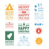 Vector Christmas badges. Collection of 9 hand-draw thematic buttons. On paper surface. Plus 48 illustrations Royalty Free Stock Photos