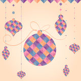 Vector Christmas ball of geometric shapes. Holiday design, triangle pattern. Can be used as New Year card, Christmas background, brochure, cover, element for Stock Photo