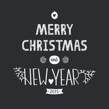 Vector christmas ball. Vector christmas greeting card with new year lettering. Illustration on black background 2015, EPS10 Stock Image