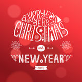 Vector christmas ball. Vector christmas greeting card with new year lettering. Illustration on red background 2015, EPS10 Stock Photos