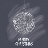 Vector Christmas ball made of hearts. Romantic Christmas ball illustration. Greeting card design. Vector chalkboard ball. Winter t Stock Photos