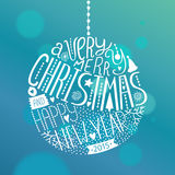 Vector christmas ball. With new year lettering. Illustration on blue background 2015 Royalty Free Stock Images
