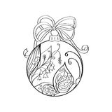 Vector christmas ball with summer ornament inside - butterfly and lilies of the valley. Coloring page for adult. Zentangle element. For design. Xmas and new Stock Photo
