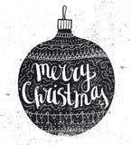Vector Christmas ball vintage card. Hand drawn Royalty Free Stock Photo
