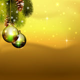 Vector christmas balls on pine tree Royalty Free Stock Photography