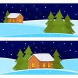 Vector Christmas banner of cute cartoon landscapes with house and fur tree.