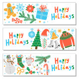 Vector Christmas banner set. Isolated on white Stock Photo