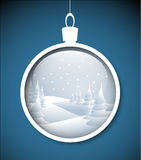 Vector Christmas bauble with snowy landscape Royalty Free Stock Photo