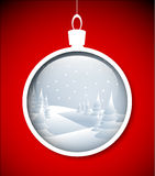 Vector Christmas bauble with snowy landscape Stock Photography