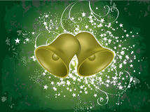 Vector christmas bells. On green grunge background Stock Photo