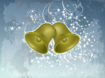 Vector christmas bells. On blue grunge background Royalty Free Stock Image