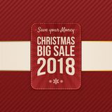 Vector Christmas big Sale festive Tag. On red striped Background Royalty Free Stock Photo