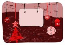 Vector christmas blank. Christmas tree, 12 o'clock Stock Images