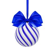 Vector christmas blue ball with blue bow and ribbon.. Twisted christmas tree ball on white background Stock Photo