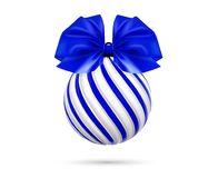 Vector christmas blue ball with blue bow and ribbon.. Vector christmas blue ball with blue bow and ribbon. Twisted christmas tree ball on white background Stock Image