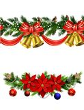 Vector Christmas Border. Collection with bellss isolated on white Stock Photos