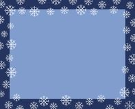 Vector christmas border dark blue frame covered by white snow fl. Akes isolated on light blue background royalty free illustration