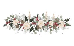 Vector Christmas border with fir branches, beriies, roses, ilex and cones. Decoration design element royalty free illustration