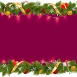 Vector Christmas Border with Garland Royalty Free Stock Photos