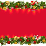 Vector Christmas Border with Garland 2. On white background royalty free illustration