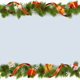 Vector Christmas Border with Gifts Stock Images