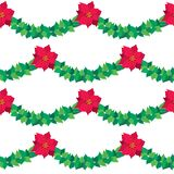 Vector Christmas border red Poinsettia flowers. royalty free illustration