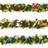 Vector Christmas Border Set 5. On white background royalty free illustration