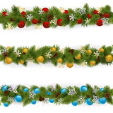 Vector Christmas Borders Set 4. Isolated on white background Royalty Free Stock Image