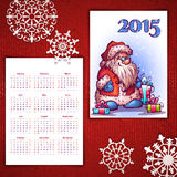 Vector Christmas calendar with Santa and 2015 Stock Photography