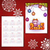 Vector Christmas calendar with sheep and 2015. Label stock illustration