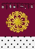 Vector Christmas Calligraphic Design snowflake, with a gold texture Stock Photography