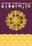 Vector Christmas Calligraphic Design snowflake, with a gold texture Royalty Free Stock Image
