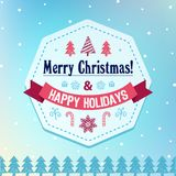 Vector christmas card. Banner, poster with greetings royalty free illustration