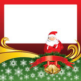 Vector Christmas Card with Bells and Santa Claus Royalty Free Stock Images