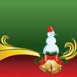 Vector Christmas Card with Bells and Snowman Stock Images