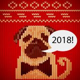 Vector Christmas card with a cartoon dog breed dachshund wearing a sweater. 2018 year of the dog. Royalty Free Stock Photos