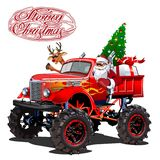 Vector Christmas card with cartoon retro Christmas monstertruck royalty free illustration
