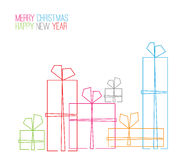 Vector christmas card - continuous line drawing stock illustration