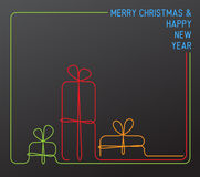 Vector christmas card - continuous line drawing Royalty Free Stock Image