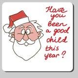 Vector Christmas Card Design with Santa Claus Head Stock Photo