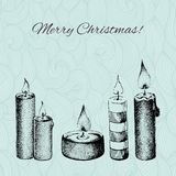 Vector Christmas card with dotted hand drawn Royalty Free Stock Photos