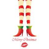 Vector christmas card with with elf girls legs Stock Photos